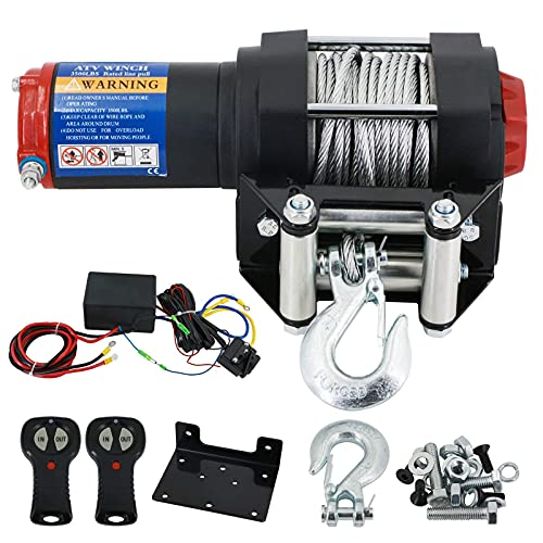 Auttely Heavy Duty 12V 3500Lbs Waterproof Electric Winch Kits with Wall Mounting Bracket Hawse Fairlead and Wireless Wired Remote Controllers for Towing ATV UTV Off-Road Trailer