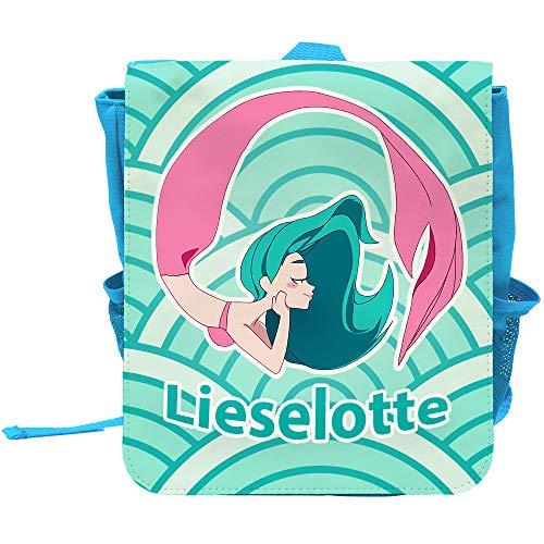 Kinder-Rucksack mit Namen Lieselotte und schönem Meerjungfrau-Motiv in Türkis für Mädchen