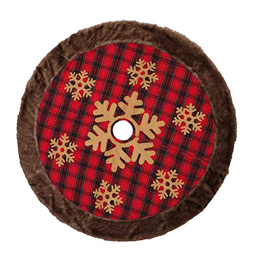 JSH 120Cm Christmas Tree Skirt with Red and Black Linen Plaid and Thick Artificial Fur Edge Tree Skirt for Christmas Decoration