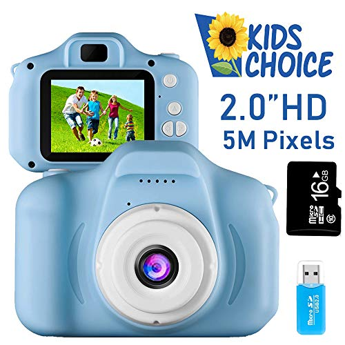 Coodoo Kids Camera Toys for 4-8 Year Old Boys Toddler Rechargeable Cameras with 2 Inch IPS Screen for Children Birthday Gift Idea(Free 16GB Memory Card Included)