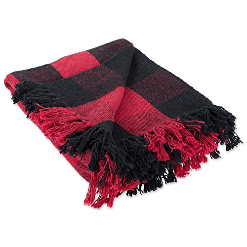 DII 100% Cotton Buffalo Check Throw for Indoor/Outdoor Use Camping Bbqs Beaches Everyday Blanket, 50 x 60, Red and Black
