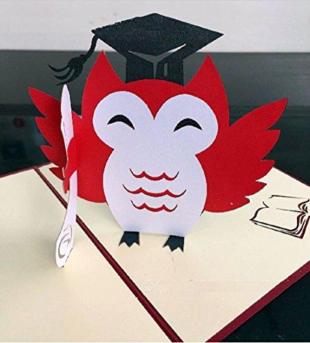 BC Worldwide Ltd Handgemachte Pop-up-Pop-up Graduierung Origami Kirigami Eule Karte Feier Zeremonie Hut Schule College Universität Geschenk ihm ihre Freundin Familie
