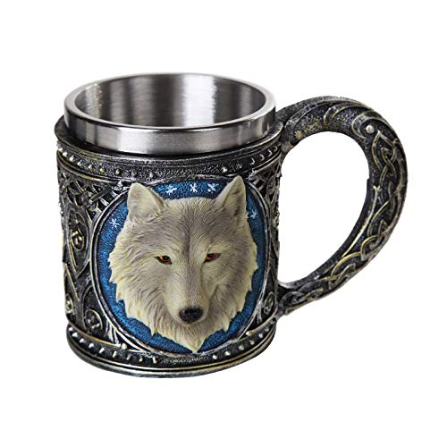Pacific Giftware Lone Spirit Wolf Celtic Magic 11oz Resin Coffee Mug with Stainless Steel Insert