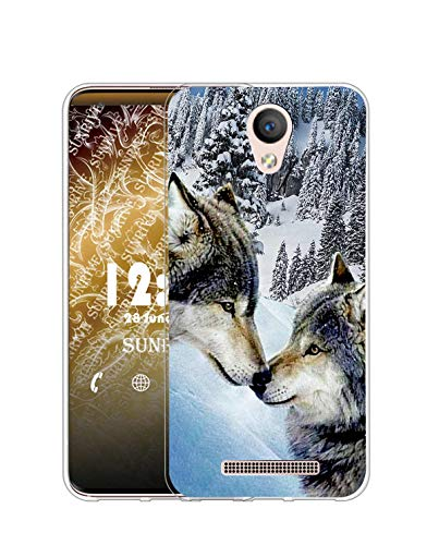 Sunrive Kompatibel mit DOOGEE X6 Pro Hülle Silikon, Transparent Handyhülle Schutzhülle Etui Hülle (Q Wolf 7)+Gratis Universal Eingabestift MEHRWEG