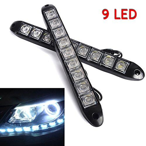 2 strisce di lampadine LED per auto, luci di marcia diurna e fendinebbia, 12 V, 9 LED, luce bianca