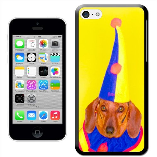 Fancy A Snuggle 'Dackel hond in clown Jester kostuum' Hard Case Clip On Back Cover voor Apple iPhone 5 C
