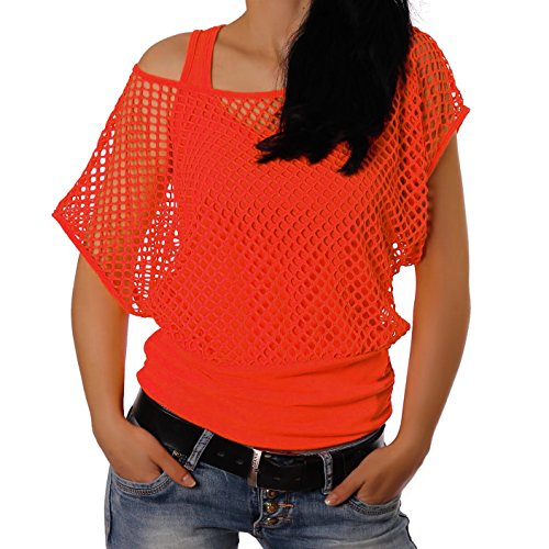 Crazy Age Frauen Partytop Sommertop Netzoberteil Trend 2016 in Neonfarben Jetzt auch in L/XL (L/XL, Neonorange)