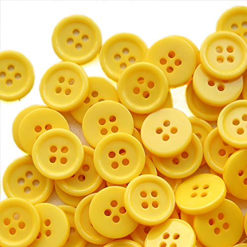 GANSSIA 5/8 Inch Button 15mm Sewing Flatback Buttons Colored Yellow Pack of 160 Pcs