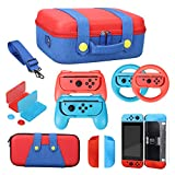 13 in 1 Trave Carrying Storage Case Kit for Nintendo Switch, Carry Case Hard Shell Carry Bag for Mario Fans, Joycon Steering Wheel, Joycon Grip, Screen Protector, Protective Case Cover, Thumb Grips