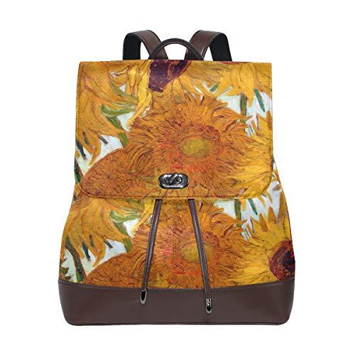 Ahomy - Zaino da donna in pelle PU Van Gogh, con girasole, antifurto