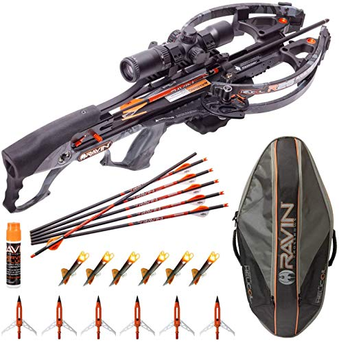 RAVIN Crossbows R26 400 FPS Crossbow + Soft Case with 6 Replacement Lighted Nocks, 6 Aluminum Broadheads and Serving Fluid