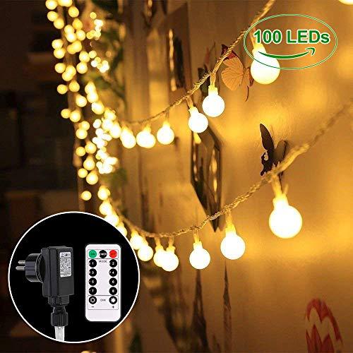 B-right 100 LEDs Globe Lichterkette glühbirne, LED Lichterkette warmweiß, Lichterkette mit Fernbedienung, Innen- und Außen Lichterkette Weihnachtsbeleuchtung für Weihnachten Hochzeit Weihnachtsbaum