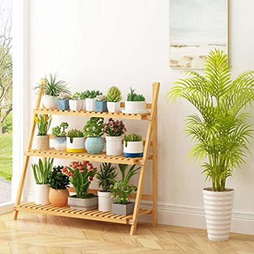 HJ Pot de fleurs Support de rangement Support de rangement Écran Support pliant Bamboo 3 couches Hanging végétales rack fleur Pot Rack usine rack étagère (Size : 3-storey)