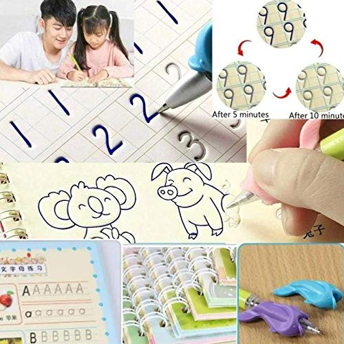 ZZSNT Magic Writing Paste Children's Kindergarten Grooves Post Before School Hard Pen Writing Board Students pens&1 Book - Numbers