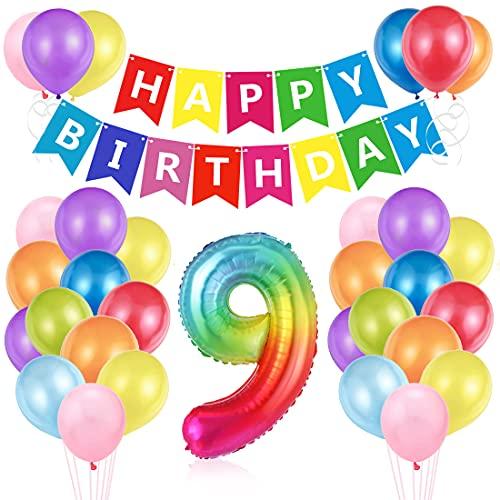O-Kinee Luftballon 9. Geburtstag Bunt, Ballon 9. Geburtstag, Geburtstagsdeko 9 Jahr, Riesen Folienballon Zahl 9, Happy Birthday Folienballon 9, Ballon 9 Deko zum Geburtstag Junge Mädchen