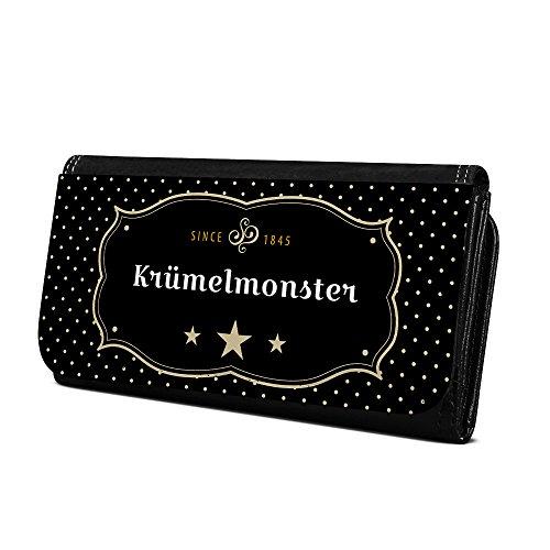 Geldbörse mit Namen Krümelmonster - Design Retro Wappen - Brieftasche, Geldbeutel, Portemonnaie, personalisiert für Damen und Herren