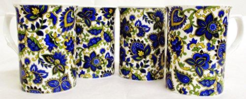 Motif cachemire Lot de 4 mugs Tasses en porcelaine fine Motif cachemire Bleu décoré à la main au Royaume-Uni