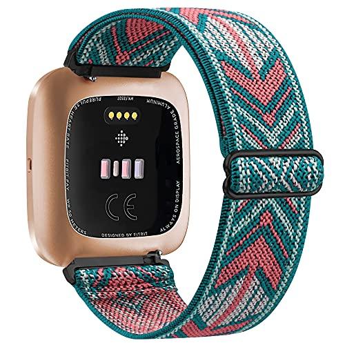 Vancle Elastische Armband Kompatibel für Fitbit Versa Armband/Fitbit Versa 2 Armband, Verstellbares Nylon Dehnbar Ersatzarmband für Fitbit Versa/Versa 2/Versa Lite (Grüner Pfeil)