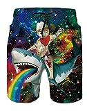 Spreadhoodie Pantalones Cortos Natacion para Hombre Diseño de Gatos Traje de Bano Azul Bañador Estilo Bermuda con Estampado de Flores para natación Surf S