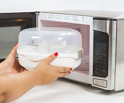 Primo Passi Best Steam Microwave Sterilizer for Baby Bottles I Odor Free I Chemical Free I Sterilize Baby Bottles & Pacifiers I Easy Dry & Storage I Includes Measuring Cup & Tong