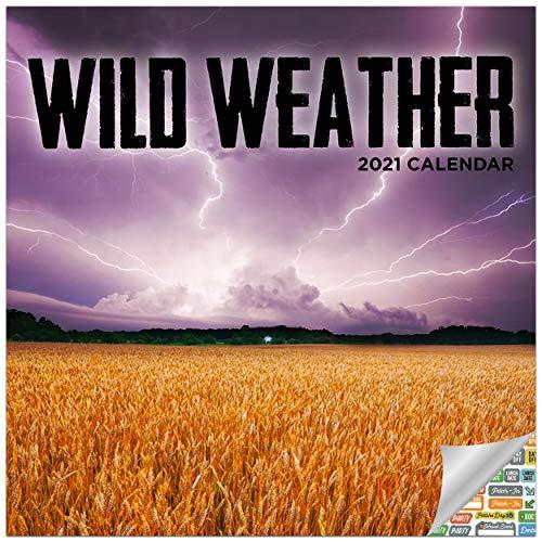 Wild Weather Calendar 2021 Bundle - Deluxe 2021 Weather Wall Calendar with Over 100 Calendar Stickers