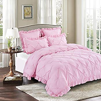 HIG 5 Piece Comforter Set King-Pink Color Microfiber Pinch Pleat Scallop Fringe-Hania Bedding Collection King Size-Soft Hypoallergenic,Fade Resistant-1 Comforter,2 Standard Shams,2 Euro Shams