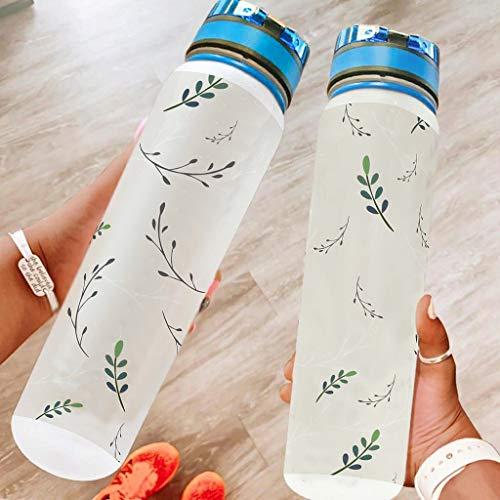WOSITON Patrón floral 32 onzas botella de agua deportiva lavavajillas seguro camping botella de deporte botella de ciclismo botella mejor regalo para amado blanco 1000ml