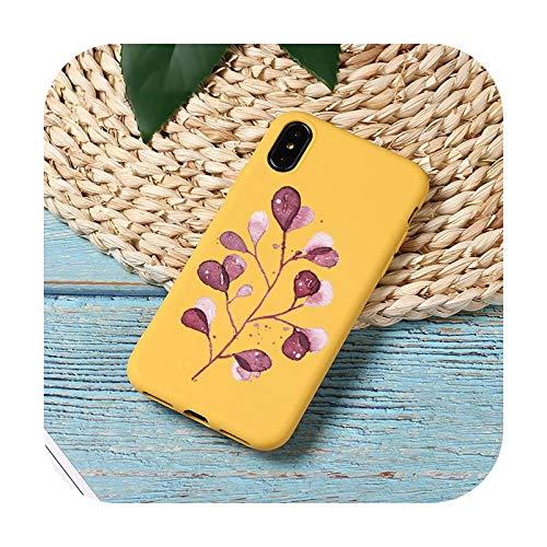 Funda para teléfono móvil con diseño de hojas, color amarillo y amarillo para iPhone 11 12 Mini Pro XS MAX 8 7 6 6S Plus X SE 2020 XR-a1-iPhone12 12PRO