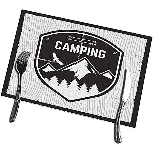 sunnee-shop placemats voor eettafel set van 4 camping Adventure Wild Mountain Explorer badge bos