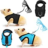 SATINIOR 2 Pieces Guinea Pig Harness and Leash Ferret Rats Hamster Soft Mesh Harness Leash Vest Set with Bell for Small Pet Rabbit Iguana Squirrel Chinchilla (Blue, Black,S)