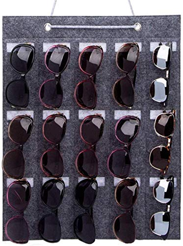Suszian Gafas de Sol Almacenamiento, Gafas de Sol Organizador Almacenamiento Bolsillo de Pared 15 Ranuras Gafas de Sol Percha de Pared Estante de Pared de Fieltro para Mujeres y Hombres