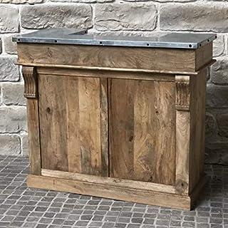 chemin_de_campagne Bar Rangements à Bouteilles Bois Zinc Comptoir 120 cm