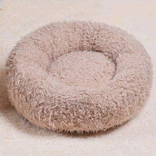 WSJYP Dog Bed Shaggy Round Donut Cat Basket, Snug Plush Puppy Pet Wear Resistant Non-Slip Nesting Cave Warm Cozy Dog Mattress,Diameter 60cm-Light Coffee