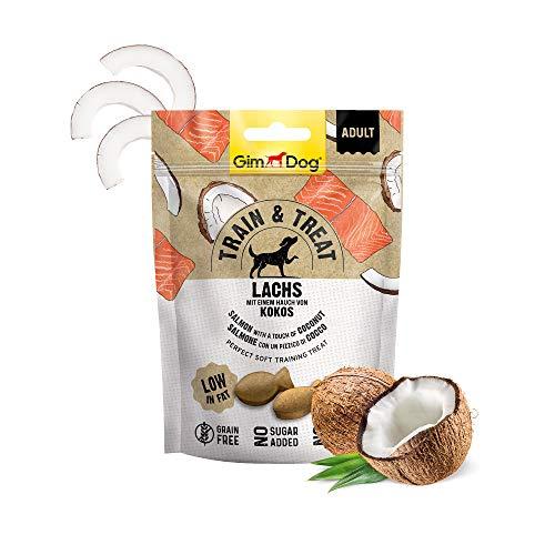 GimDog TRAIN & TREAT Adult - Lachs mit Kokos - Getreidefreie Leckerlis mit geringem Fettgehalt als idealer Trainings-Snack - 1 Beutel (1 x 125 g)