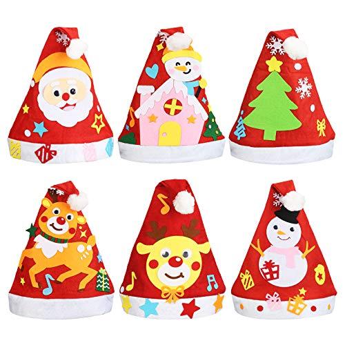 LANMOK 6 Piezas Sombrero de Navidad de Fieltro Sombrero de Santa Claus Gorro de Alce Muñeco de Nieve Actividades Manuales para Niños DIY Manualidades de Fieltro Navideño Regalo Año Nuevo
