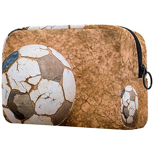 Neceser de viaje, bolsa de viaje impermeable, bolsa de aseo para mujeres y niñas, textura de fútbol negro, blanco, 18,5 x 7,5 x 13 cm