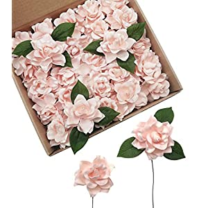 D-Seven Artificial Flowers 25pcs Gardenia Flowers with Stem for Wedding Flowers Centerpieces Bridal Shower Baby Shower Decorations DIY Wedding Bouquets Party Floral Arrangements Home Decor