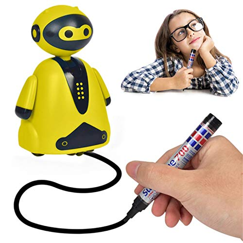 PETUFUN Robot educativo para niños, robot de juguete eléctrico inductivo Seguimiento del mini juguete mágico de la línea diseñada – Desarrolla la capacidad dibujo intelectual de los niños