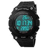 Bozlun Montre sport numérique pour hommes avec podomètre et enregistrement par étapes 5ATM étanche résistant à l'eau LED chronographe montres pour hommes et garçons