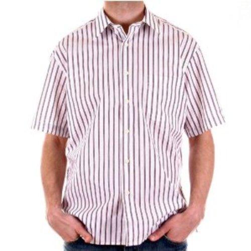 Burberry kurzärmliges Hemd, bedruckt, Pflaume & Grau gestreift Gr. L, weiß / grau