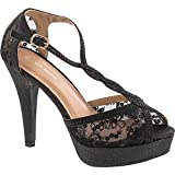 TOP Moda Hy-5 Formal Evening Party Lace Ankle T-Strap Peep Toe Stiletto High Heel Pumps,Black Glitter,9