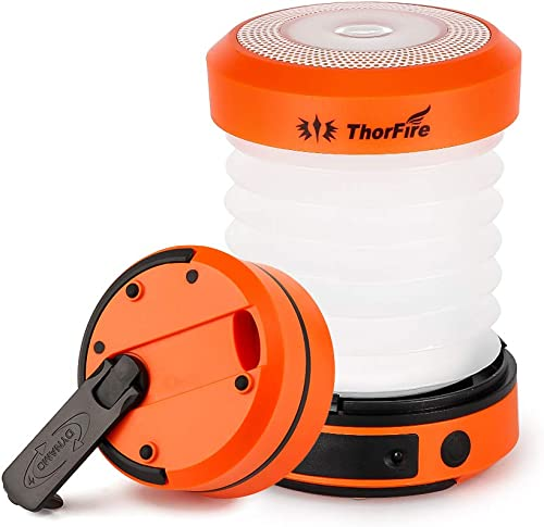 ThorFire LED Camping Lantern Lights Hand Crank USB Rechargeable Lanterns Collapsible Mini Flashlight Emergency Torch ...