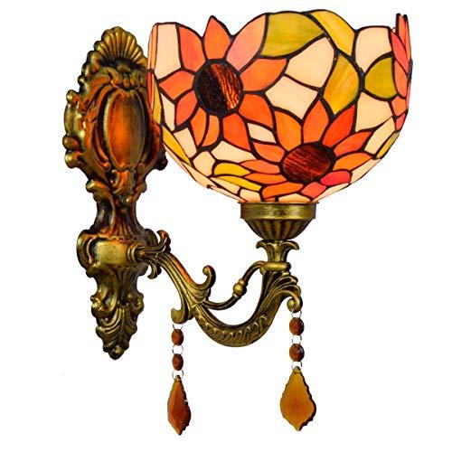 L-YINGZON British creativo moderno Espejo de baño Faros Jardín de Cristal de noche la lámpara de pared del pasillo Sun linterna Decoración de Tiffany Lámpara de pared Lámpara de interior decorativo
