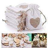 Chytaii - 30 bolsas de yute con cordón y diseño de corazón para peladillas, joyas, bodas, bautizos, cumpleaños, Navidad, color blanco (30 unidades)
