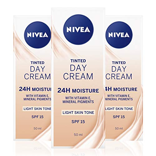 NIVEA Tinted Moisturising Day Cream in a Pack of 3 (3 x 50 ml), Vitamin E Enriched Tinted Moisturiser with SPF 15, Skin Care Essentials