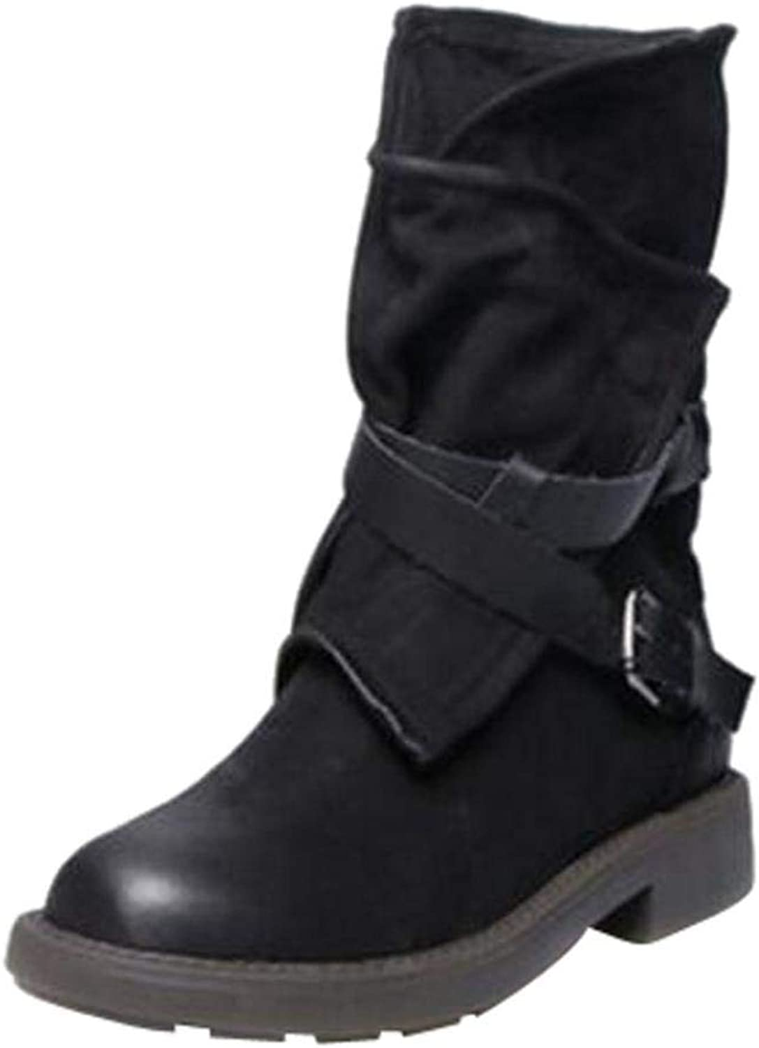 So8ooa Lady Boots Fashion Medium Military Boots Women Buckle Faux Leather Patchwork shoes Leisure Elegant Cosy Wild Tight Super Quality for Womens