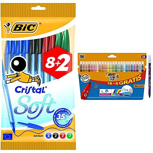 Bic cristal soft bolígrafos de punta media, escritura fluida, blíster de 8 + 2 unidades + Kids Rotuladores Lavables para Niños, Óptimo para material escolar y de oficina