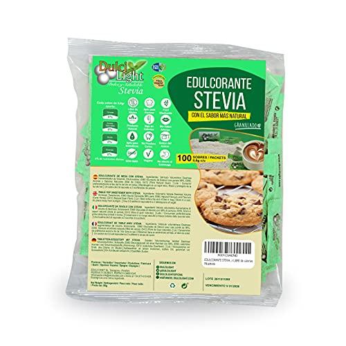 EDULCORANTE STEVIA DULCILIGHT 100 sobres, Natural granulado con fibra Vegetal 1gr