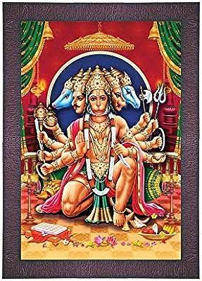SAF UV Textured 'Panch mukhi Hanuman ji' Digital Reprint Painting (9.5 inches X 13.5 inches) SANFR762