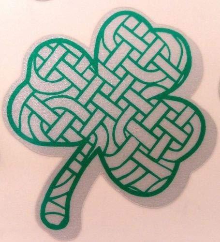 Kramer sticker's shop Reflective Celtic Weave Clover/Shamrock Decal Firefighter Fire Helmet 2 inch